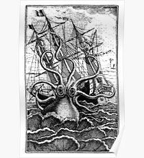Angreifende Schiffsillustration des Vekturs Kraken Poster