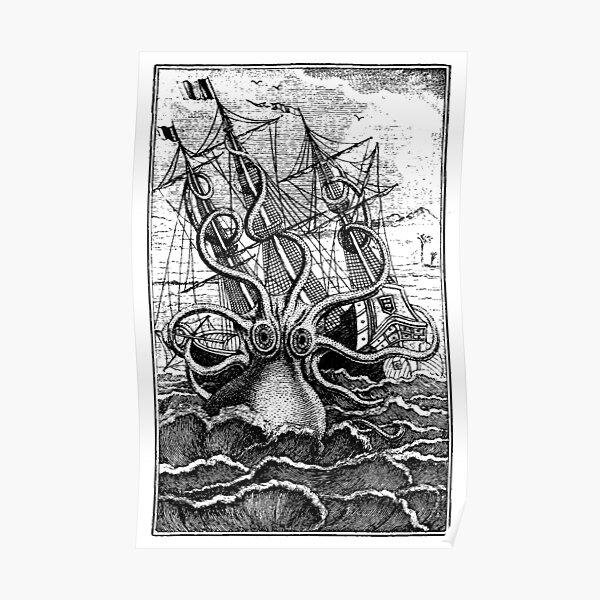 Ilustración de barco de ataque Kraken vintage Póster