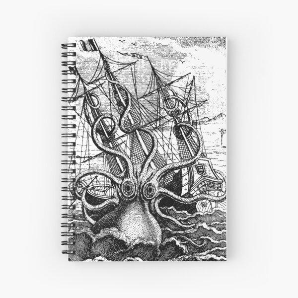 Vintage Kraken attacking ship illustration Spiral Notebook