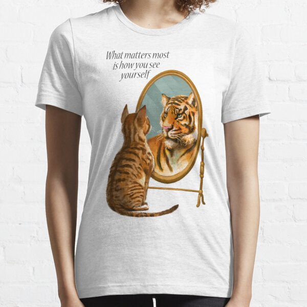 Cat and Tiger Mirror Message Essential T-Shirt