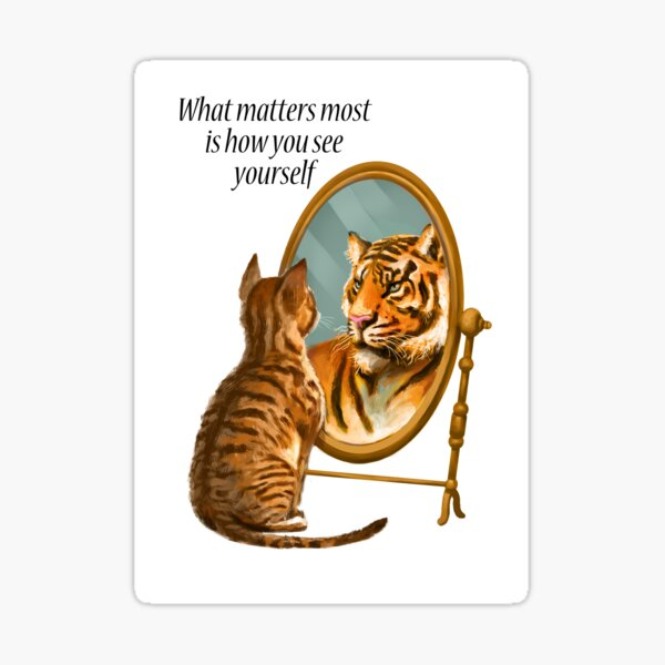 Cat and Tiger Mirror Message Sticker