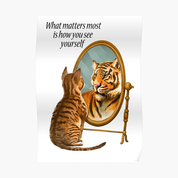 Cat and Tiger Mirror Message Poster
