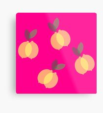 Yellow Lemons with Pink Background Metal Print