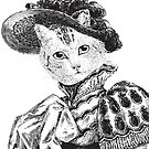 Pussycat Portrait   No. 2 of 2 from The Owl and the Pussycat Set   Anthropomorphic Cat   Vintage Cats   Black and White   by EclecticAtHeART
