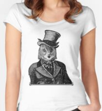 Owl Portrait | Black and White | No.1 of 2 from The Owl and the Pussycat Set Women's Fitted Scoop T-Shirt