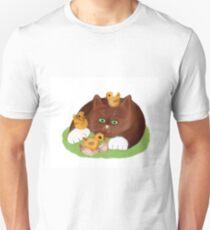 Tuxedo Kitten and Three Newly Hatched Chicks Unisex T-Shirt