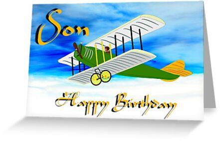 Biplane - Happy Birthday Son card by Dennis Melling