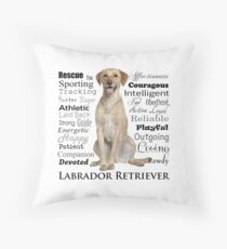 Yellow Lab Traits Throw Pillow