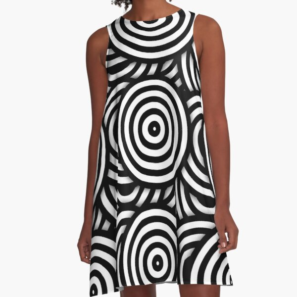 Retro Black White Circles Op Art A-Line Dress