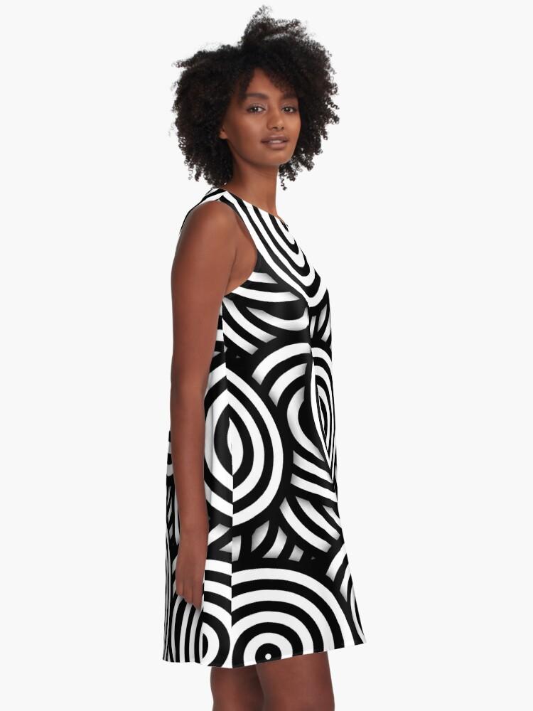 Alternate view of Retro Black White Circles Op Art A-Line Dress