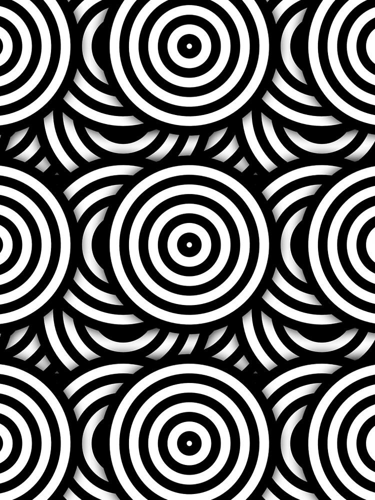 Retro Black White Circles Op Art by artsandsoul