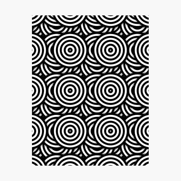 Retro Black White Circles Op Art Photographic Print