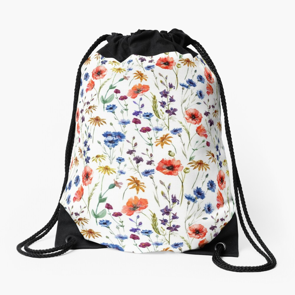 Wildflowers Pattern Drawstring Bag