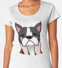 Funny Chubby Cheeks Boston Terrier Women's Premium T-Shirt