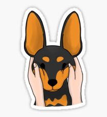 Funny Chubby Cheeks Miniature Pinscher Sticker