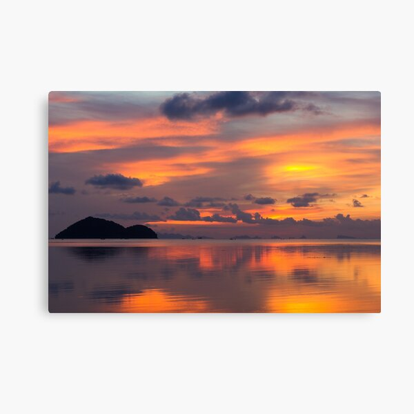 Orange sunset reflection Canvas Print