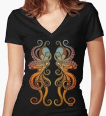 Mono Octopus (duo) #1 Women's Fitted V-Neck T-Shirt