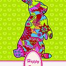 Happy easter colorful with rabbit on green by Marina Sterina