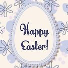Happy Easter on vintage egg banner by Marina Sterina