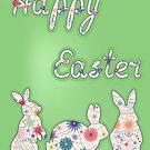 Happy easter vinatge with three rabbits by Marina Sterina