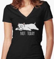 Camiseta entallada de cuello en V Funny Not Today Westie