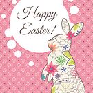 happy easter vintage with rabbit by Marina Sterina