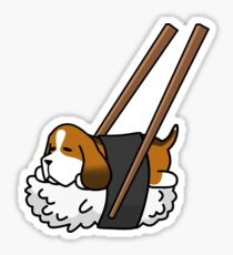 Funny Sushi Basset Hound Sticker