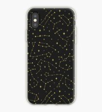 Gold Zodiac Constellations Pattern iPhone Case