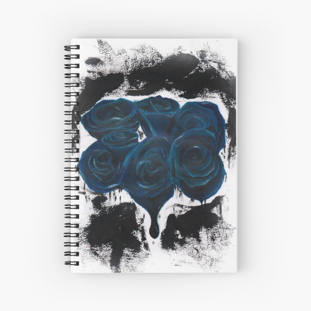 Ink Blue Roses - Escaping from Houdini inspired Spiral Notebook