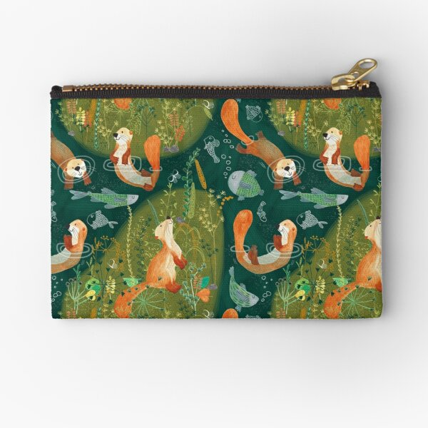 Pattern 74 - Playful otters by the river  Zipper Pouch