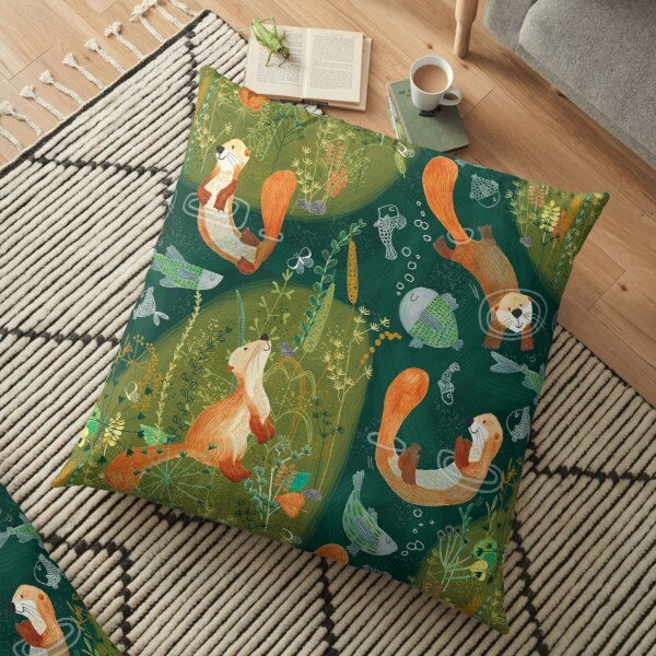 Pattern 74 - Playful otters by the river  Floor Pillow