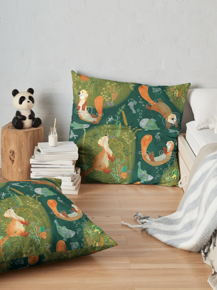 Alternate view of Pattern 74 - Playful otters by the river  Floor Pillow
