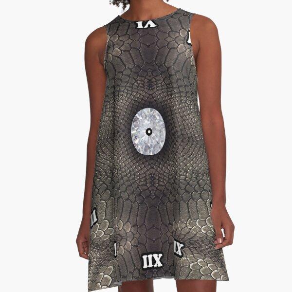 skin pattern, diamond, brilliant, rock, adamant, minikin, watch face, clock face A-Line Dress