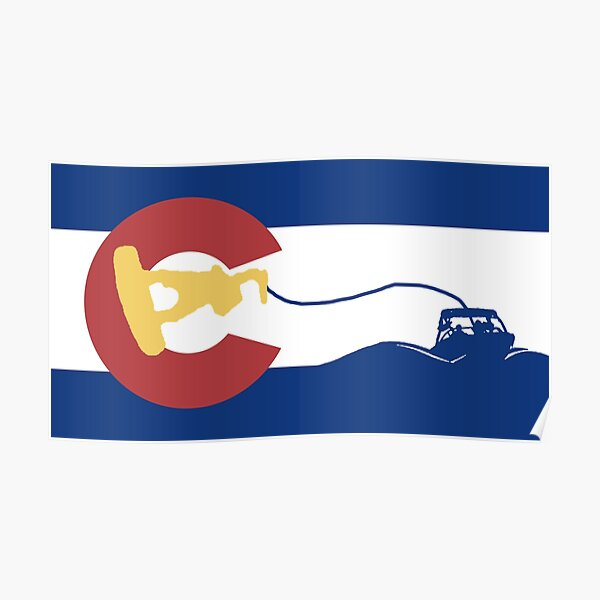 Colorado Flag - Wakeboarder Poster