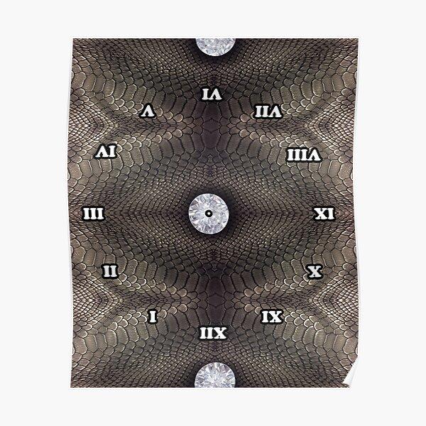 skin, skin pattern, diamond, brilliant, rock, adamant, minikin, watch face, clock face Poster