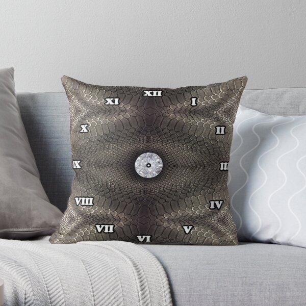 steampunk bondage, skin, skin pattern, diamond, brilliant, rock, adamant, minikin, watch face, clock face Throw Pillow