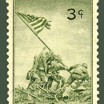 IWO JIMA, U.S. postage stamp, 1945 issue, commemorating the battle by TOMSREDBUBBLE