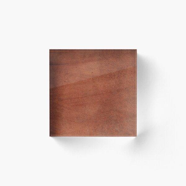 brown leather, science fiction, speculative fiction, imaginative concept, futuristic science, futuristic technology Acrylic Block