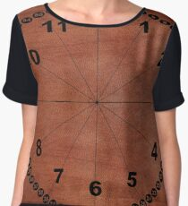 skin, skin pattern, diamond, brilliant, rock, adamant, minikin, watch face, clock face, brown leather, leather  Chiffon Top