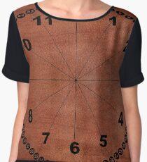 skin, skin pattern, diamond, brilliant, rock, adamant, minikin, watch face, clock face, brown leather, leather  Chiffon Top
