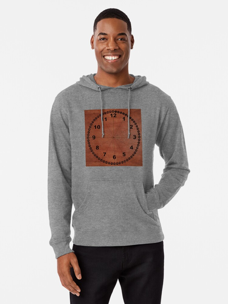 Alternate view of skin, skin pattern, diamond, brilliant, rock, adamant, minikin, watch face, clock face, brown leather, leather  Lightweight Hoodie