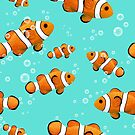 Tropical Clownfish & Bubbles Pattern by tanyadraws
