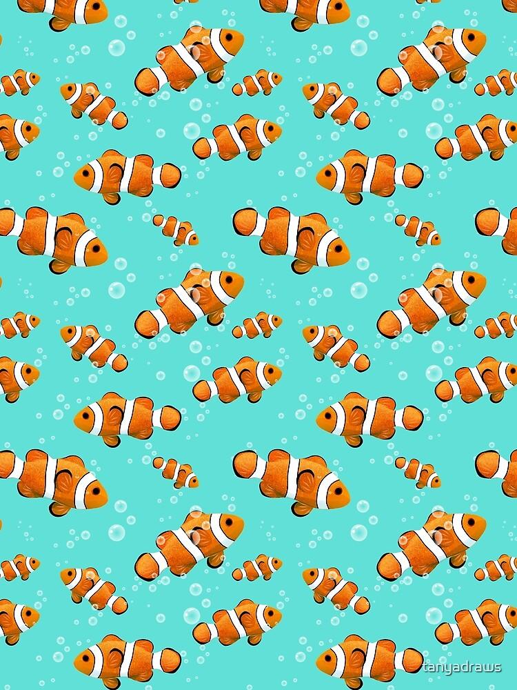 Tropical Clownfish & Bubbles Pattern by tanyadraws