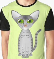 Devon Rex cat grey and black with stripes and green eyes Graphic T-Shirt