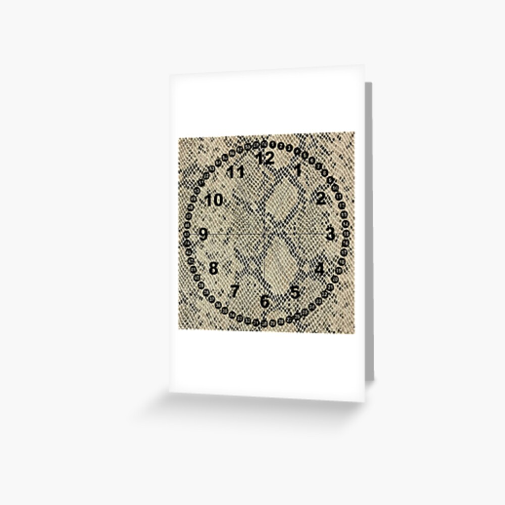 clock face, brown leather, leather, asphalt Greeting Card