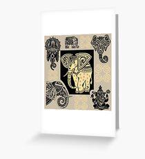 Tribal Elephants Greeting Card