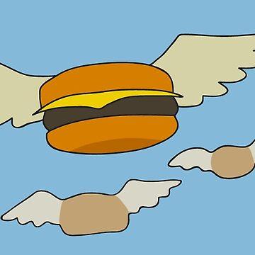 Flying Hamburger Bob's Burger Sticker by limbo