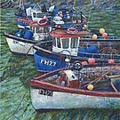 Cornish fishing boats, Coverack, Cornwall, painting by Marion Yeo