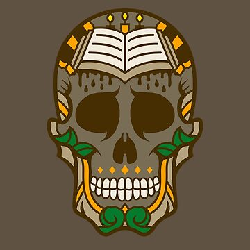 Colorful Book of Knowledge Sugar Skull Design by allovervintage