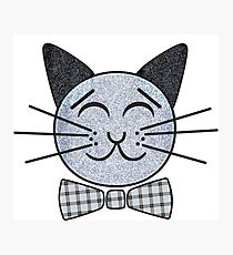 Grey Cat With a Bow Tie Photographic Print